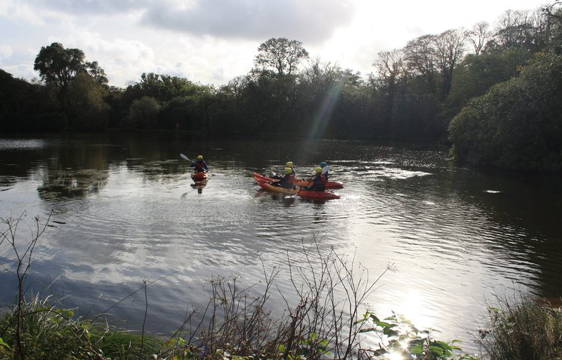 Kayakers in a sunbeam at Clowance