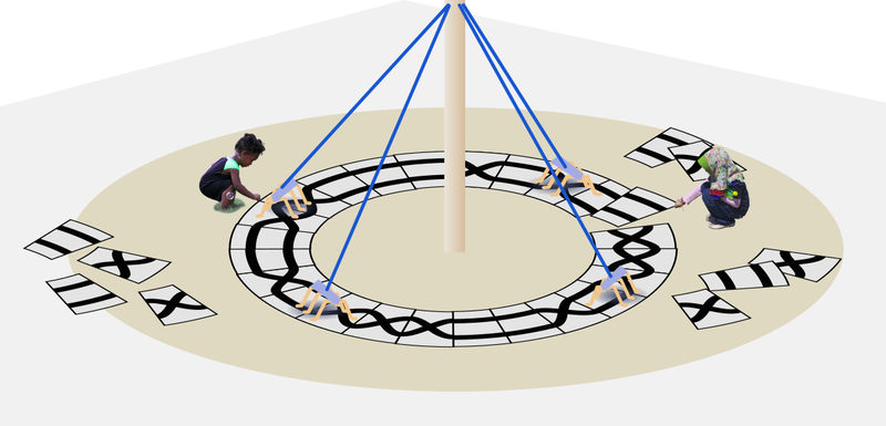Concept sketch where to children arrange patterned tiles on the floor around a may pole to control the robots path.